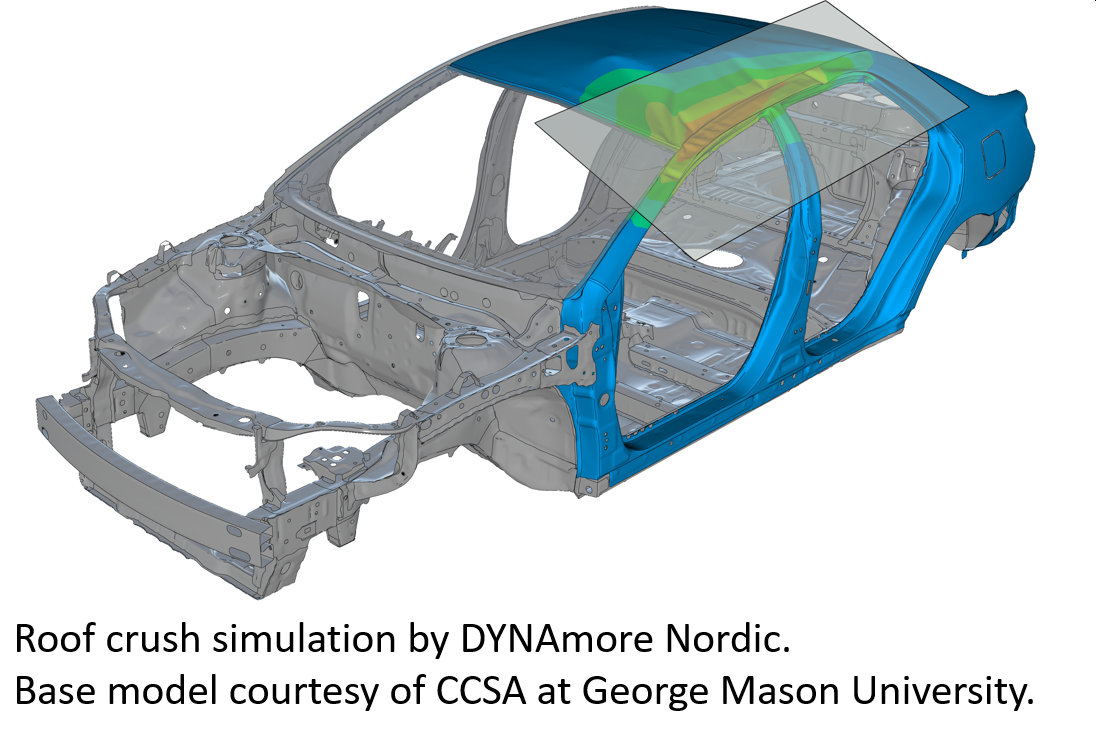 Roof crush simulation by DYNAmore Nordic. Base model courtesy of CCSA at George Mason University.